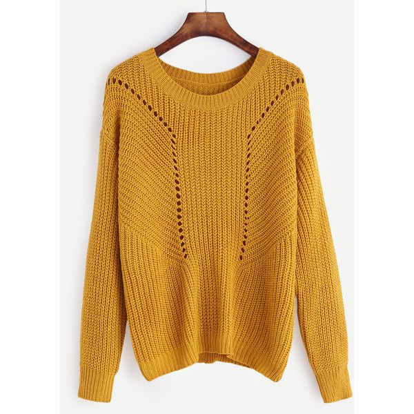 SheIn(sheinside) Mustard Drop Shoulder Eyelet Sweater ($24 ...