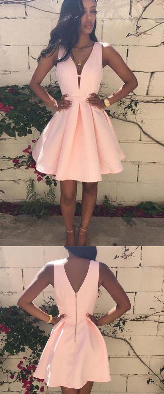 Custom made v neck pink short prom dress pink v neck homecoming