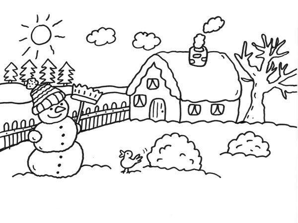 Le bonhomme de neige du jardin coloriages d 39 hiver for Jardin dessin