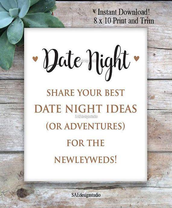 Printable Wedding Advice Cards Reception Bridal Shower Day Bride Groom Mr Mrs Bucket List Date Night Ideas Includes 8x10 Sign