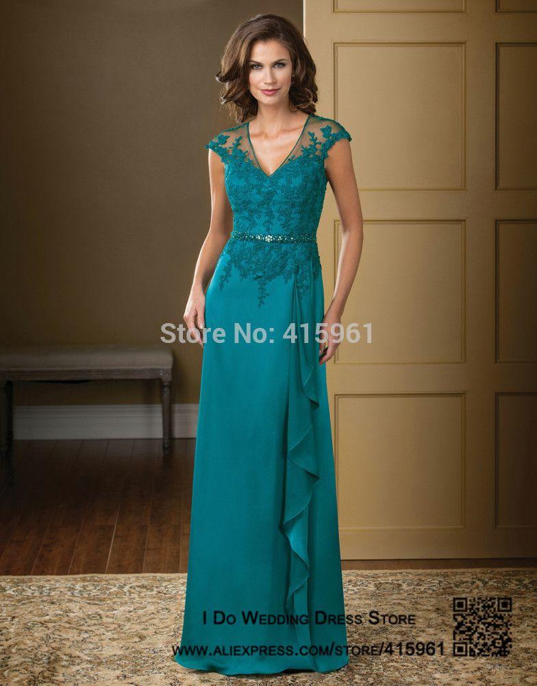 Vestido mae da noiva Hunter Elegant V Neck Lace Mother of the Bride Dresses  Plus Size Chiffon Evening Pants Cap Sleeve M2194 936459c12e55