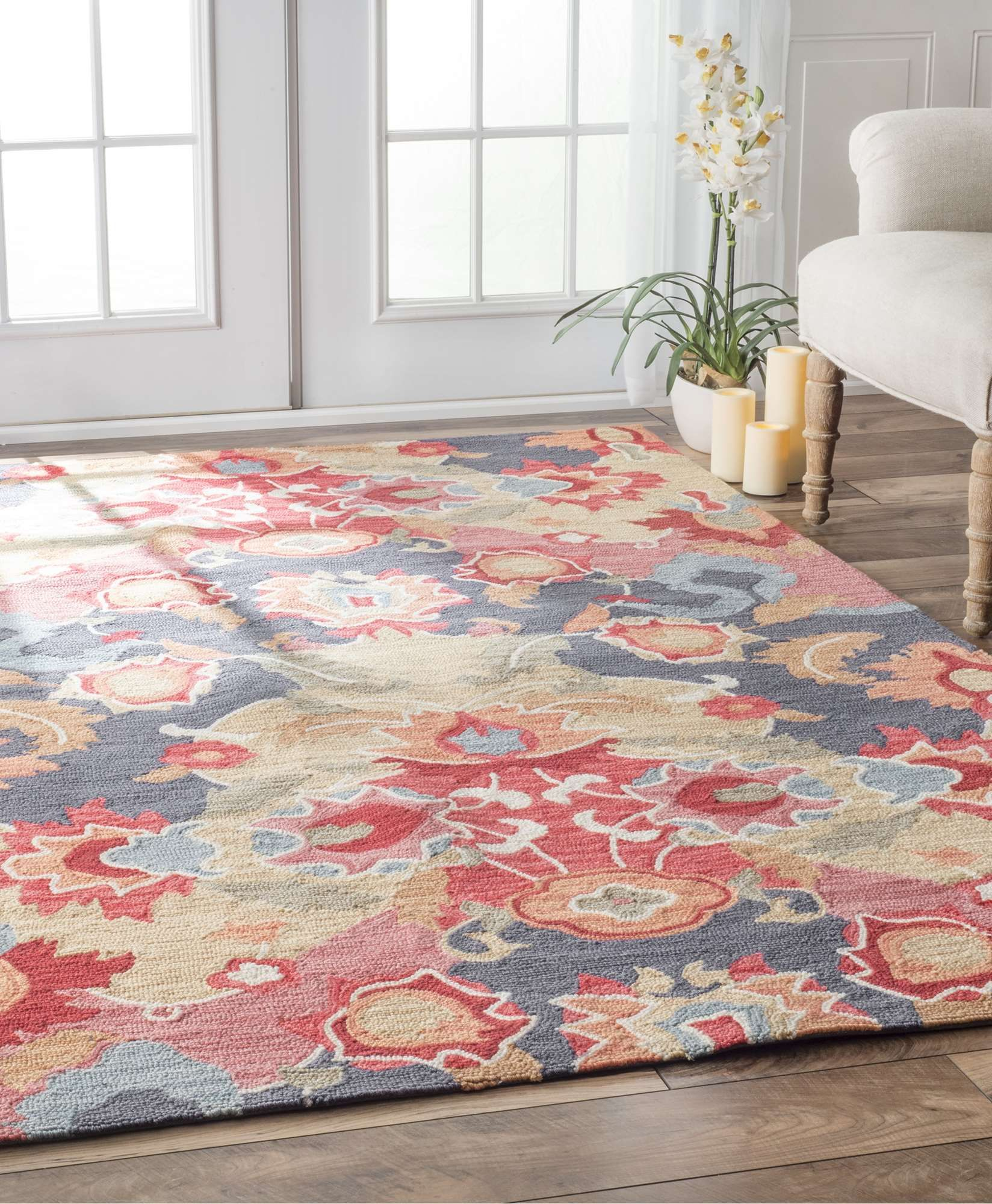 Both Contemporary And Organic This Area Rug Is B With A Burst Of Blossom Enchantment The Hand Hooked Made Out 100 Polyester Adds