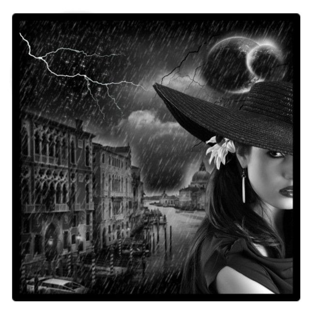 """""""Stormy Night...for audioscars"""" by glitter-killer-doll ❤ liked on Polyvore featuring art, rain, dark, lightning, stars, girl, moon, night, woman and sky"""