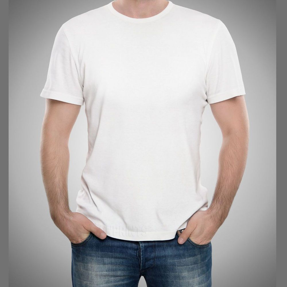 12 White T-shirt Blanks Bulk Lot Plain T shirts Men's S-XL 1 Dozen 100%  Cotton