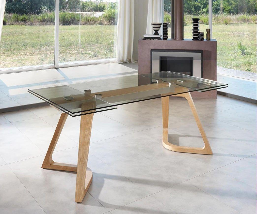 Vetro Tavolo ~ Speaker tavolo allungabile in vetro tavolo rettangolare con