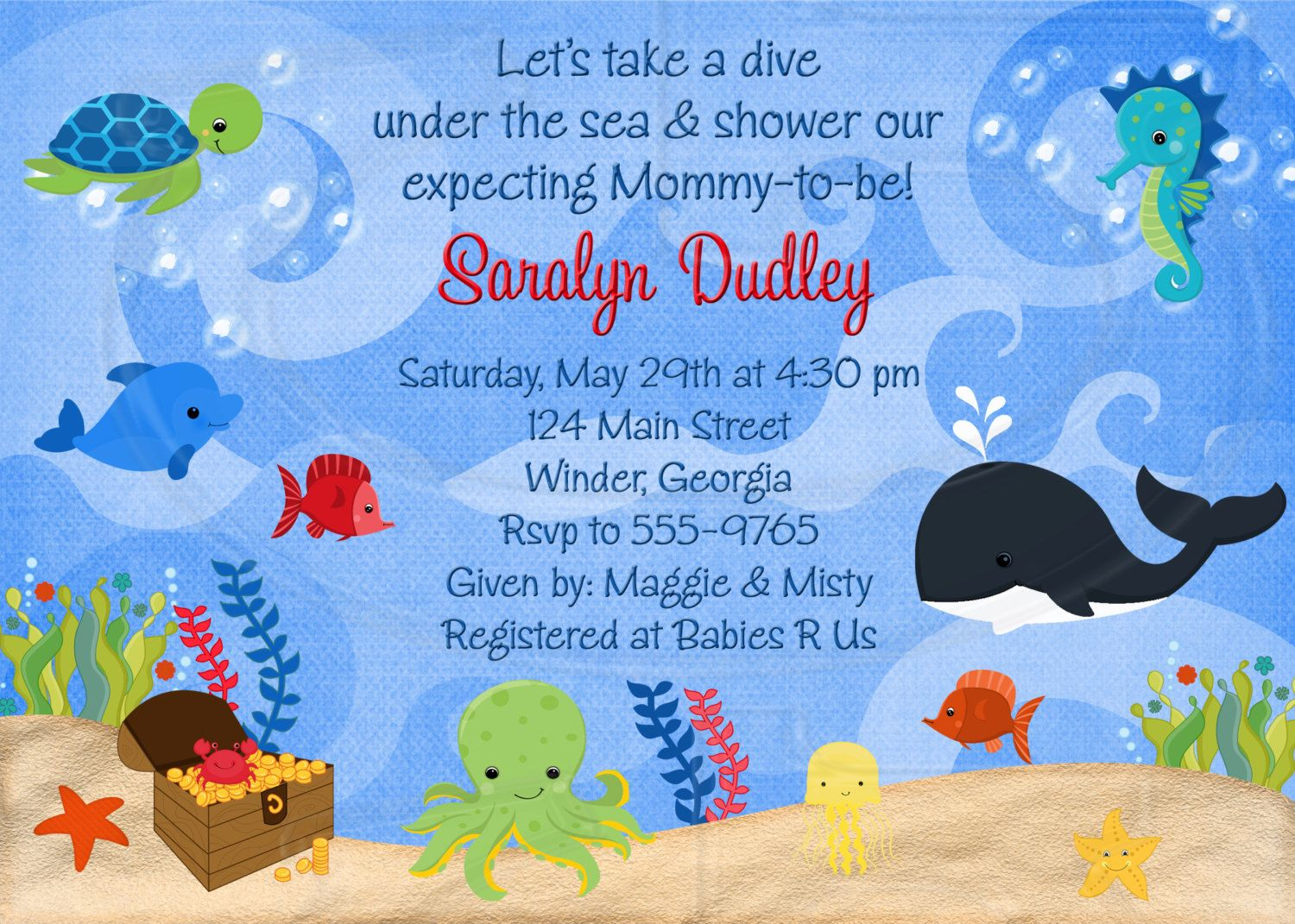 Under The Sea Baby Shower Or Birthday Invitation Digital File