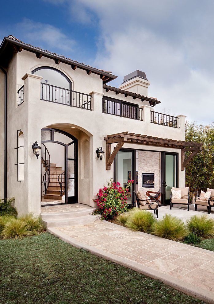 Spanish stucco house exterior mediterranean with outdoor dining