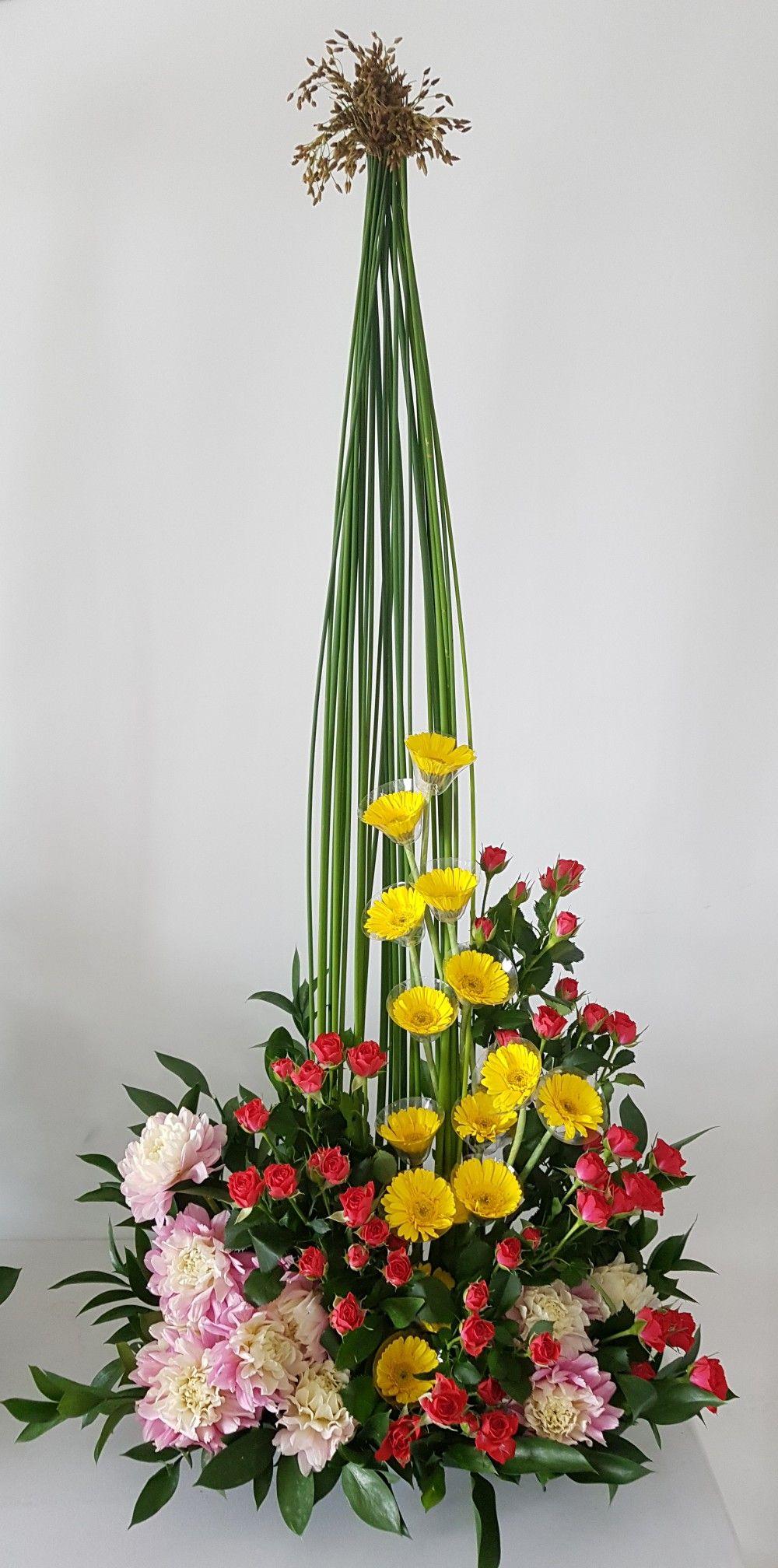 Tall Floral Arrangements, Church Flower Arrangements, Altar Flowers, Spirals, Orchids,