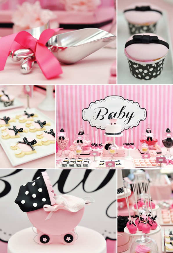 Pink White And Black Baby Shower Theme Babyshower Ideas Baby