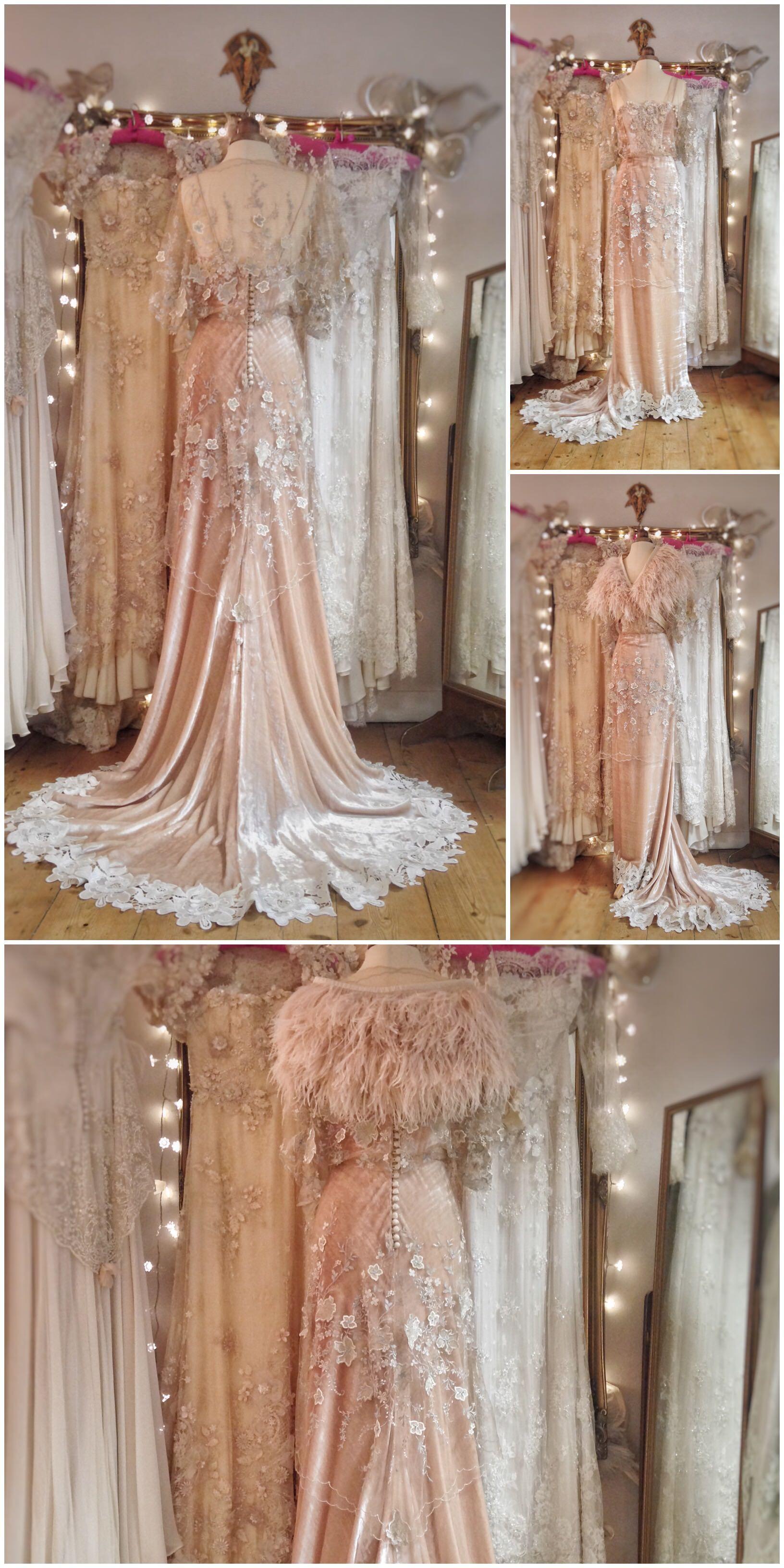 000ba7bcd5a Champagne silk velvet and embroidered tulle Belle Epoque inspired wedding  dress by Joanne Fleming Design