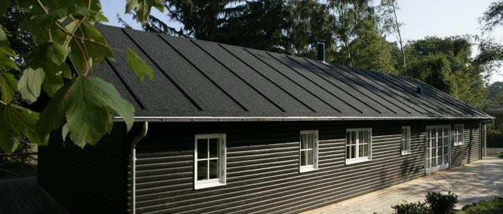 I Dronningmølle ligger dette flotte sommerhus med en kulsort listedækning