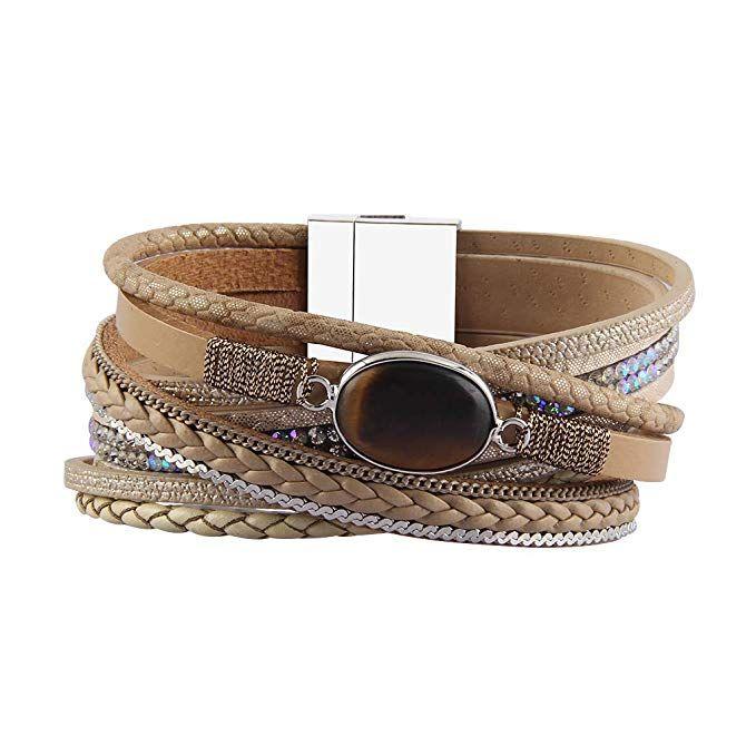 e8310f6de64 Jenia Leather Wrap Bracelet Multi-Strand Rope Braided Bracelet Casual Cuff  Bracelet with Agate Handmade Gift for Women, Teens Girls, Wife, Mother, ...