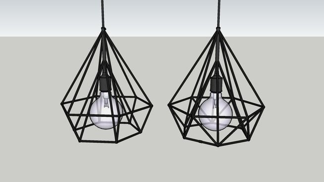Industrial metal diamond pendant lights 3d warehouse