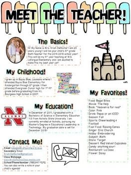 Meet The Teacher Newsletter Editable Beach Theme  Open House