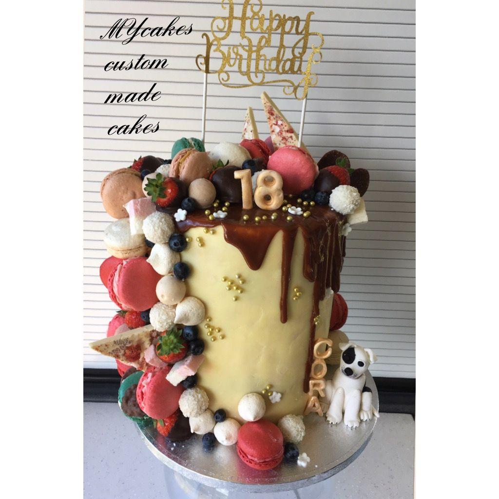 Phenomenal Salted Caramel Drip Cake With Flavoured Macaroons 18Th Birthday Funny Birthday Cards Online Necthendildamsfinfo