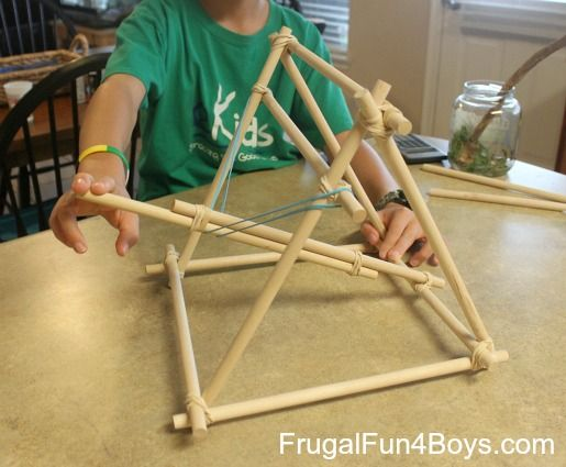 How To Build A Catapult Out Of Dowel Rods And Rubber Bands Tie Crafts Craft Sticks And Cable Tie