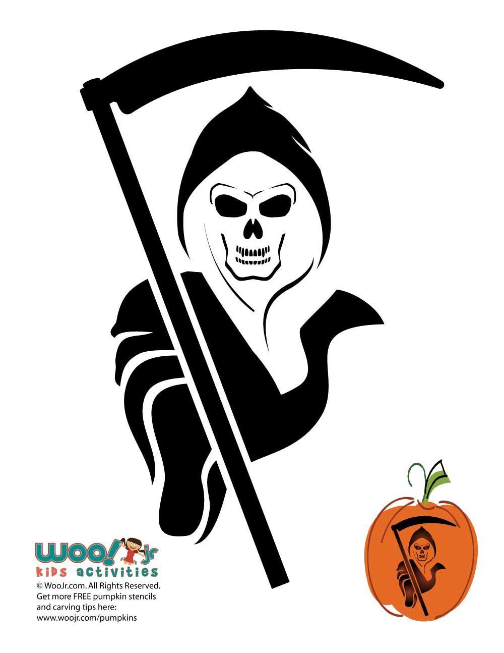grim reaper pumpkin template  Grim Reaper Pumpkin Template to Carve in 6 | Pumpkin ...