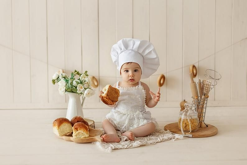 Baby Cook Costume Newborn Photography Props Chef Style Clothing Photo Hat Cap