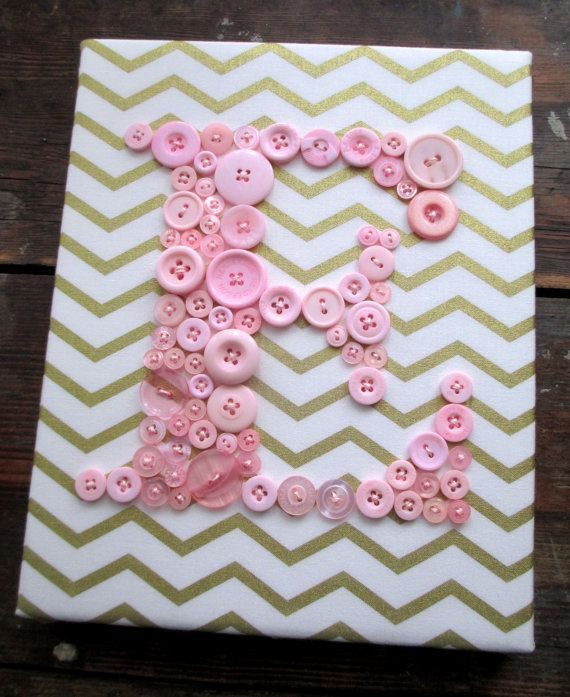 Initial Wall Art personalized nursery wall art, button letter e, button art, baby