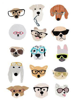 Dogs With Glasses Print Cartoon Animal รวมการ ต นน องหมาน าร กๆ Dogthailand Net Dog With Glasses Dog Illustration Dog Art