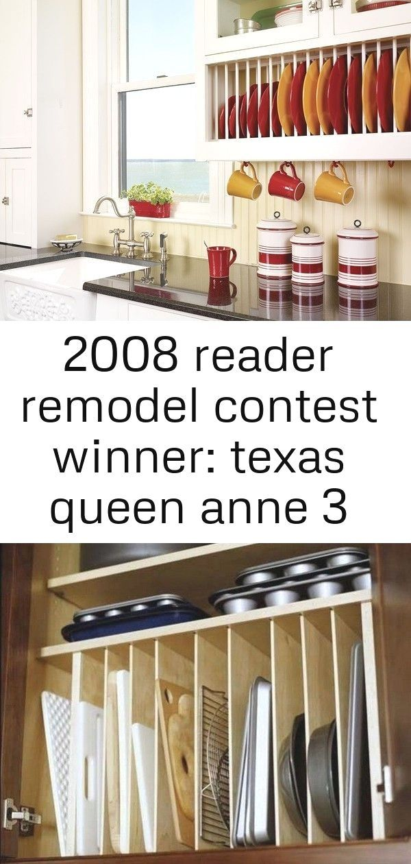 2008 reader remodel contest winner: texas queen anne 3 : Glass-Front Kitchen Cabinets and Built-In Plate Rack New Smart DIY Kitchen Organizing Ideas   #diykitchenorganization Spektakuläre Diy Gel Fleck Küche Schränke #Küchen There are hundreds of options for your new cabinets. Kitchen cabinet ideas are practically endless. The first thing you need […] #2008 #reader #remodel #plateracks