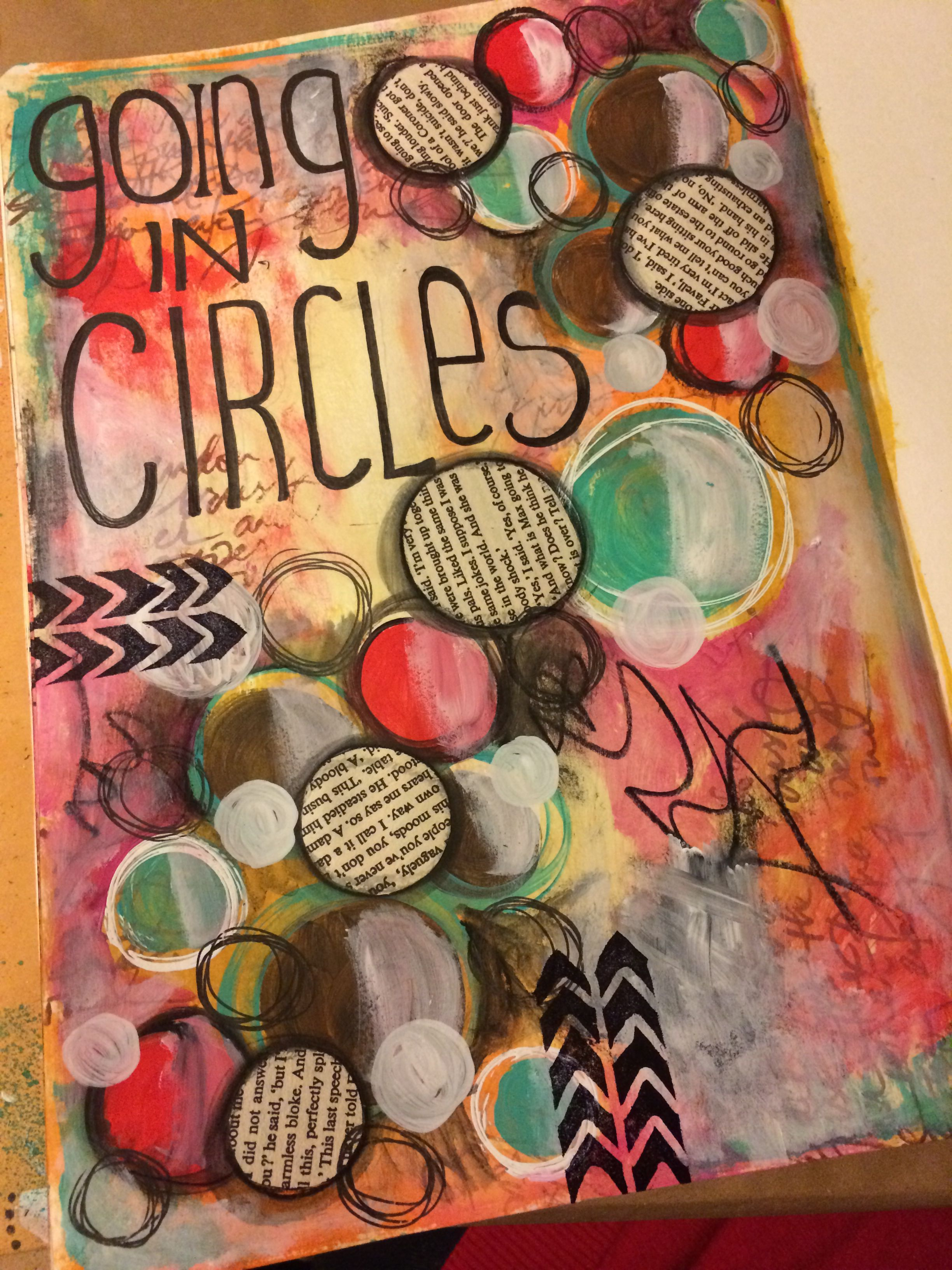 Going in circles art journal page art journaling ideas