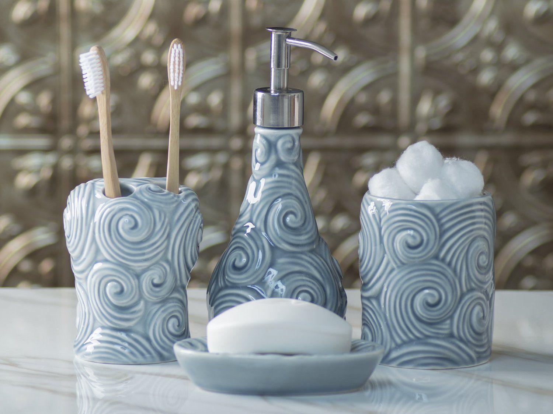 Designer 4 Piece Ceramic Bath Accessory Set By Comfify Includes Liquid Soap Or Lotion Dispens Bath Accessories Set Bathroom Accessories Sets Bath Accessories