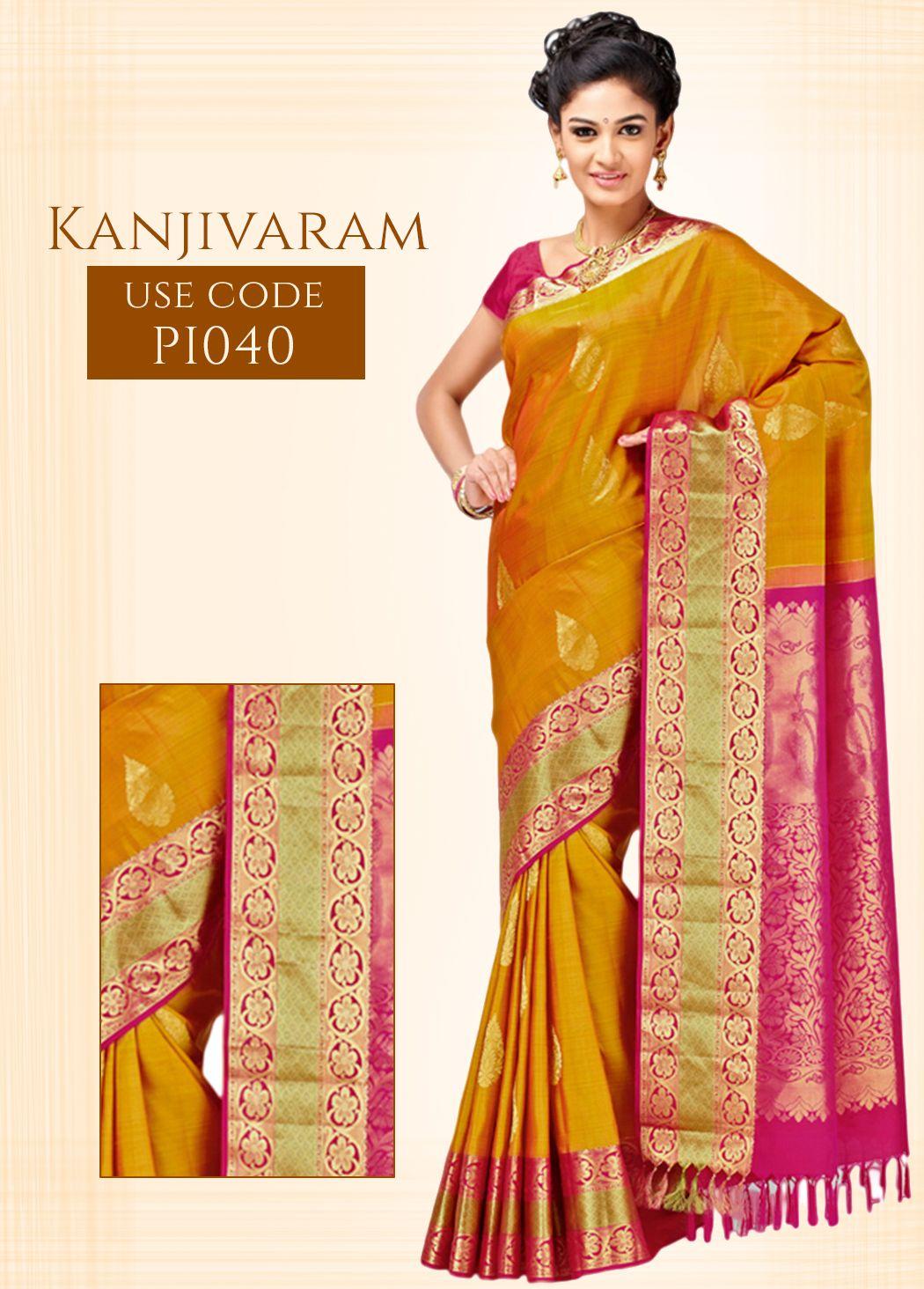 ac6cd4a7c0 Rust Kanjivaram Pure Silk Saree, with Golden Zari Brocade Border and  Magenta Colored Pallu. To Buy This Saree, Just Click Here:goo.gl/X2DWg0 ...