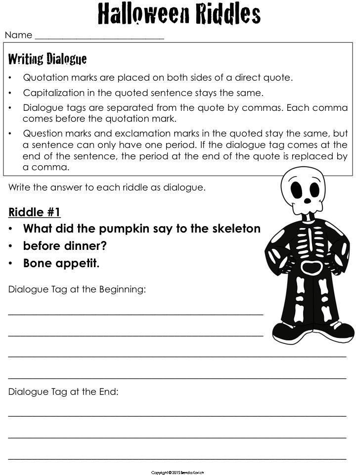 Direct Quotes Captivating Halloween Dialogue  Using Quotation Marks In Direct Quotes