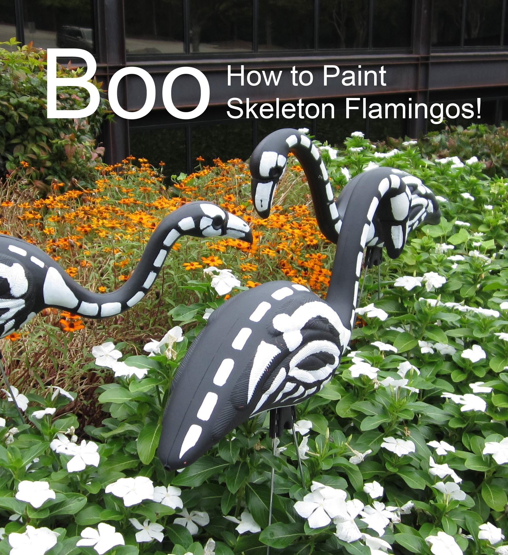 How to paint skeleton flamingos. Tutorial here: http://community ...