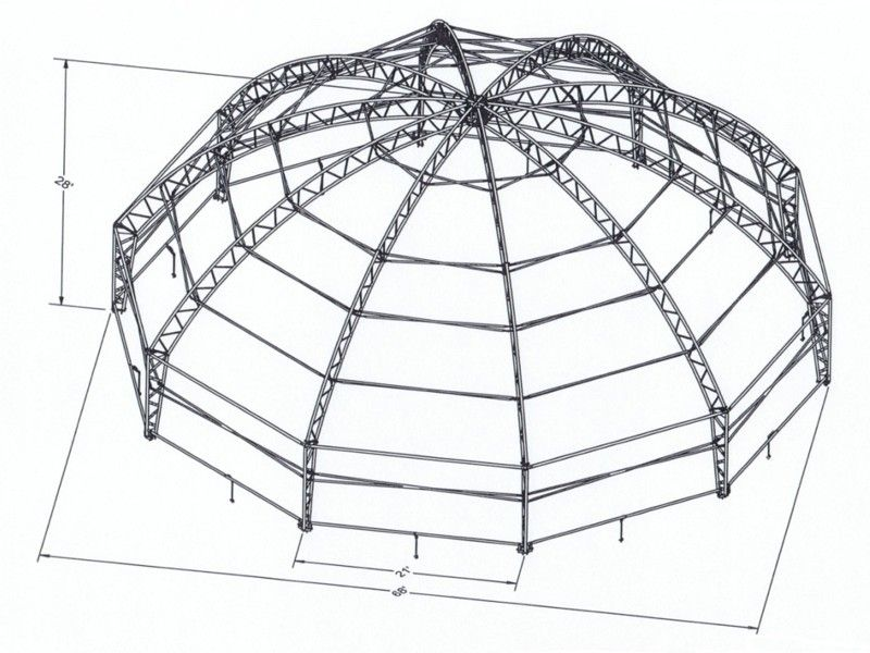 Domed roof trusses google search hwq6 dome pinterest for Barrel roof trusses
