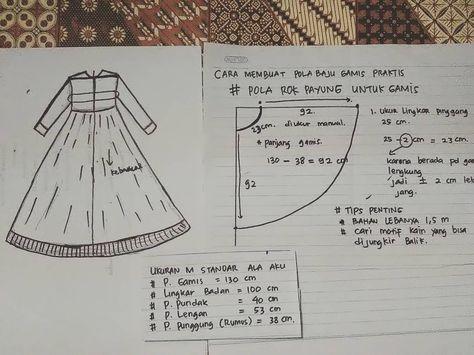Cara Bikin Pola Baju Gamis Payung
