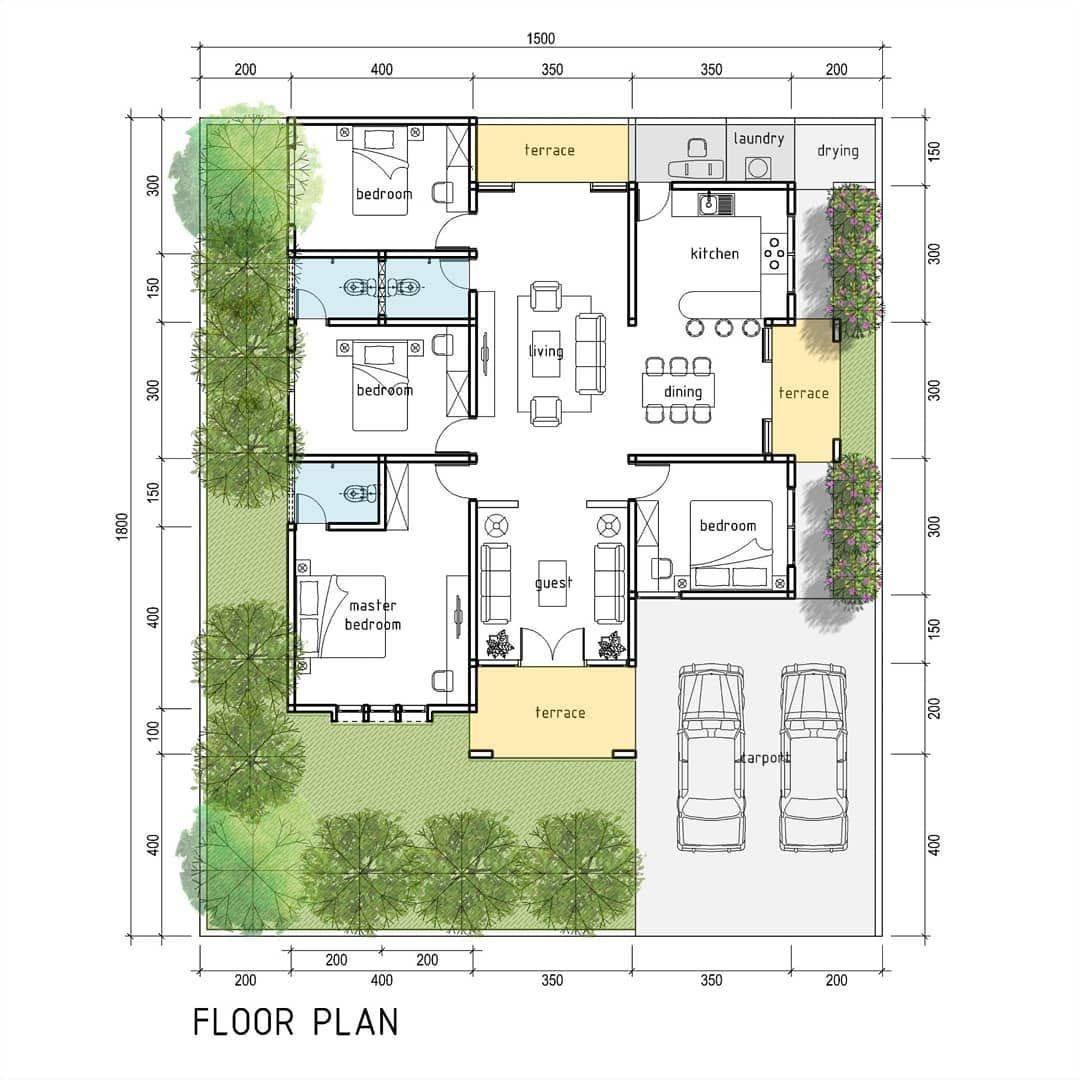 Rumah 2 Muka Di Lahan 15 X 18m Good Design For Everyone With Affordable Price Desain Denah 300rb 100m2 L Rumah Denah Rumah Denah Rumah 4 Kamar Tidur