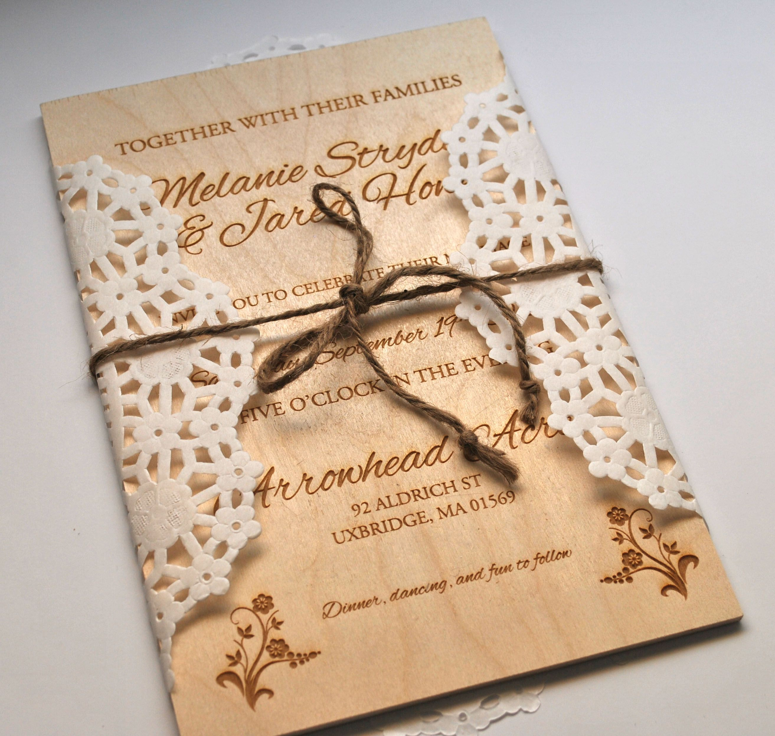 Attractive Laser Engraved Wedding Invitation On Thin Wooden Board.