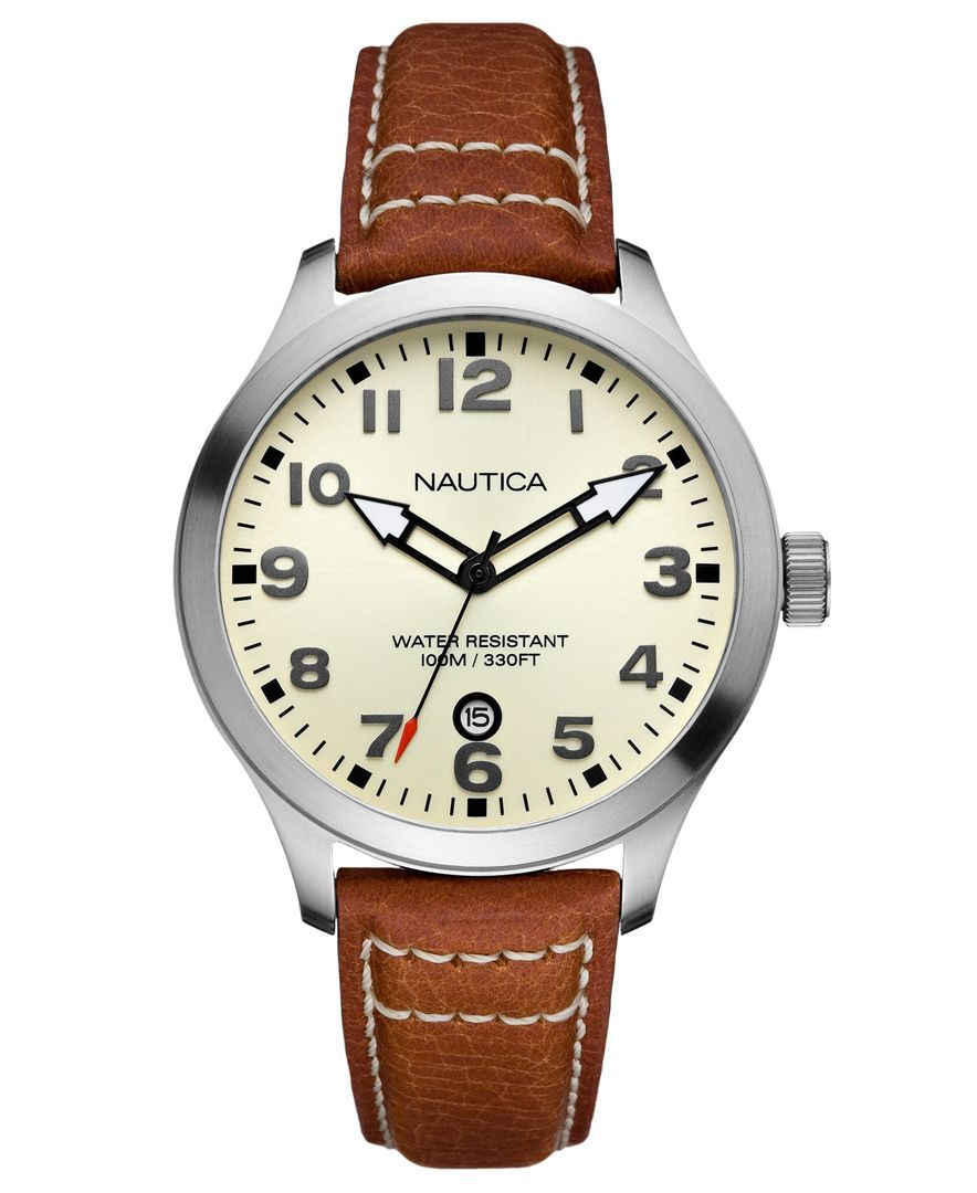 5ad4576d1 Nautica Watch, Men's Cognac Pebble Grain Leather Strap N09560G - Men's  Watches - Jewelry & Watches - Macy's