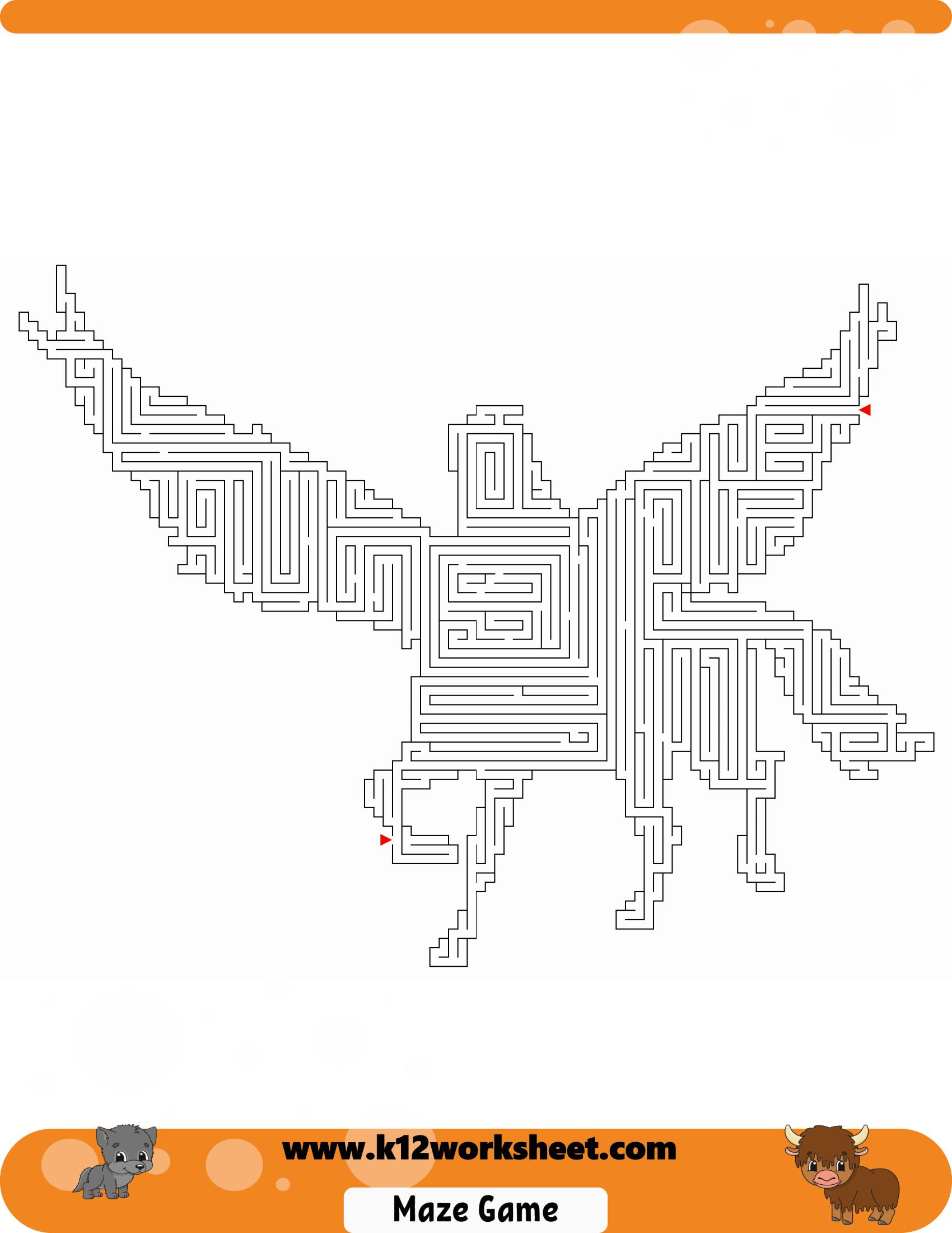 Unicorn Maze Worksheet For Kids