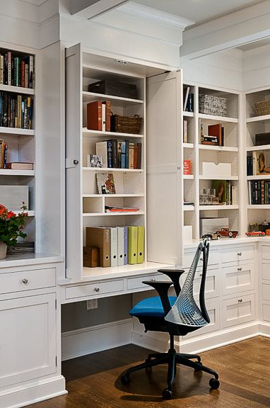 Cabinet Doors Hiding Mess Of Wall Office Home Office Storage