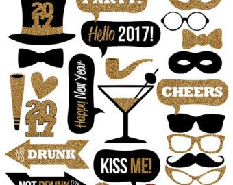 Photo booth props printable props black and par PaperSparkleDesigns