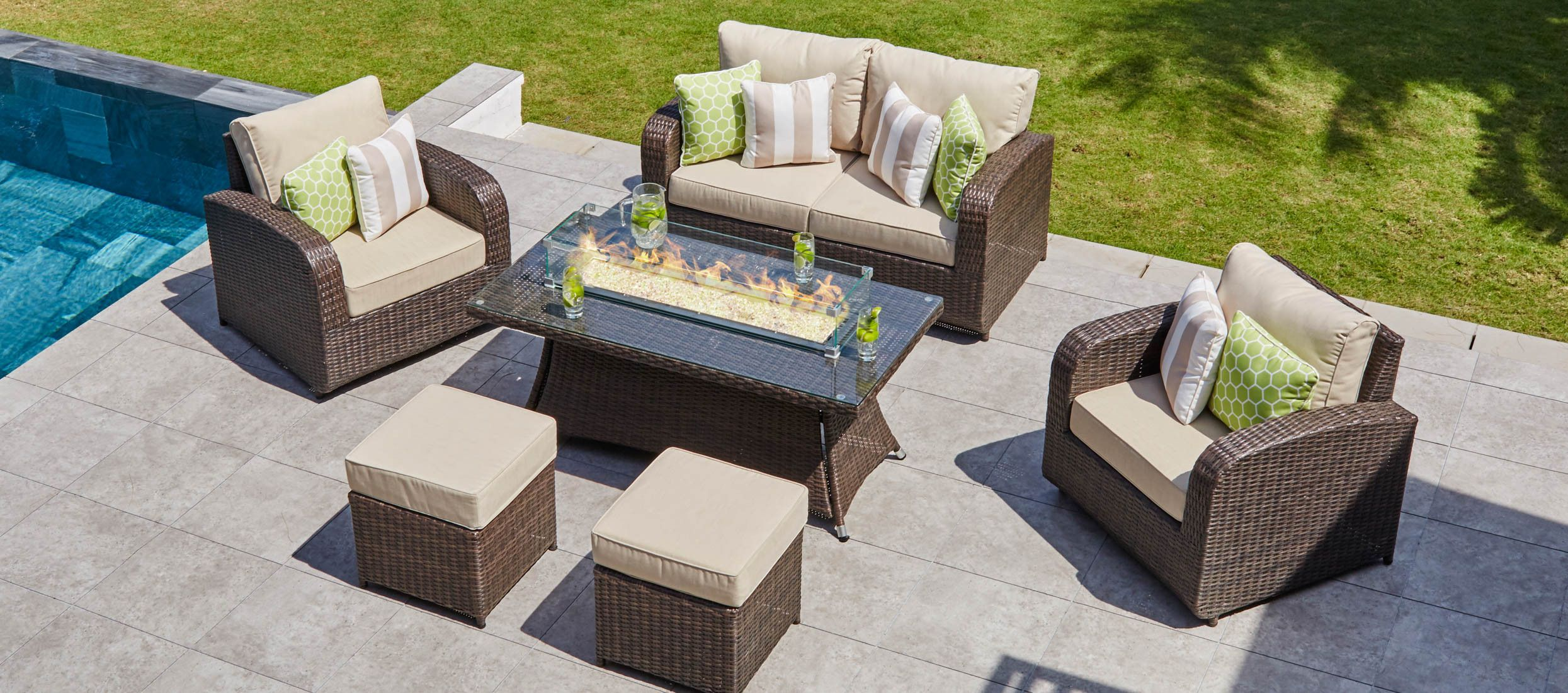 Windsor 9 - with 2 Seat Sofa set, Gas Fire Pit Coffee ...