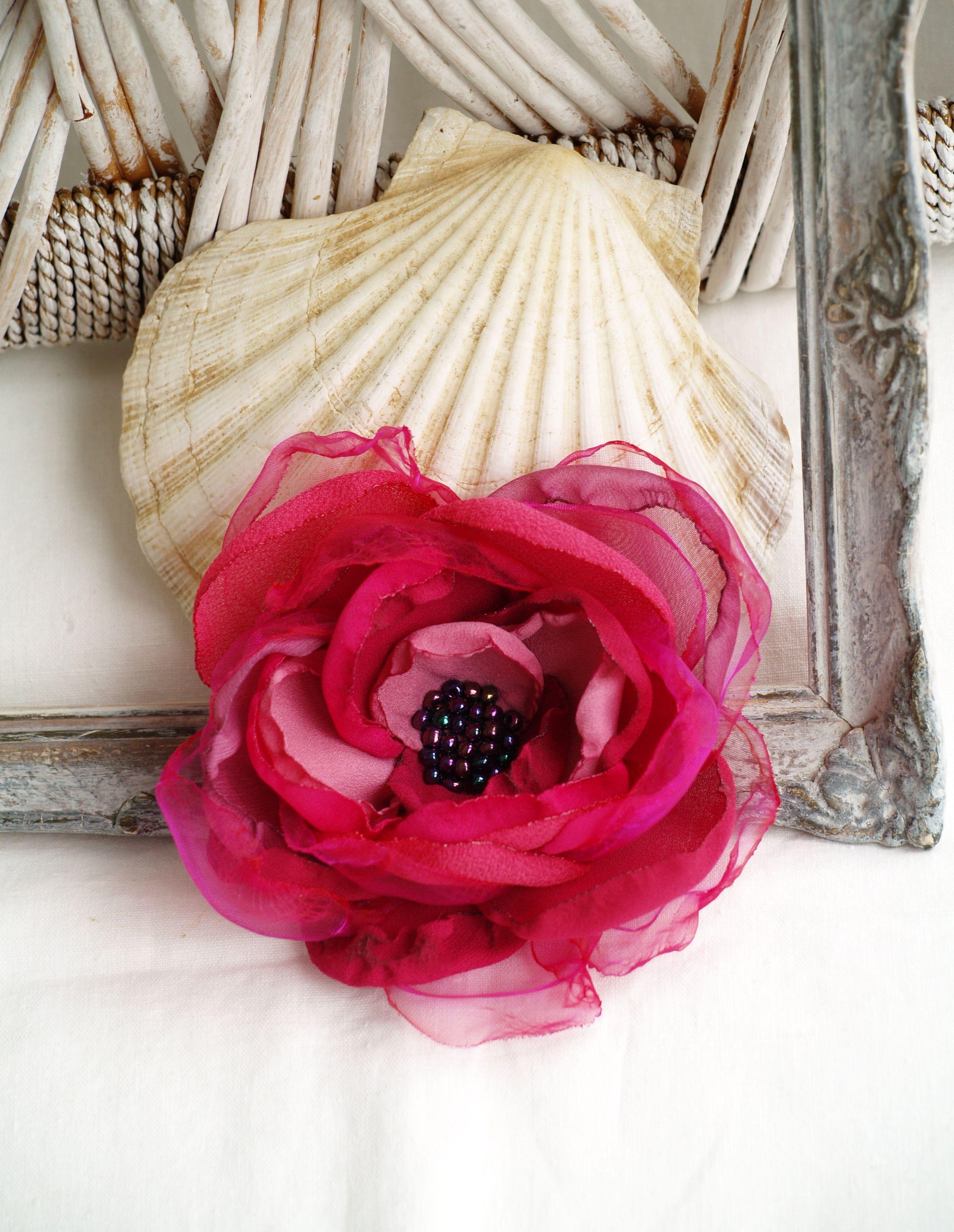 Pink Flower Brooch Raspberry Pink Silk Flower Pink Flower Hair Clip