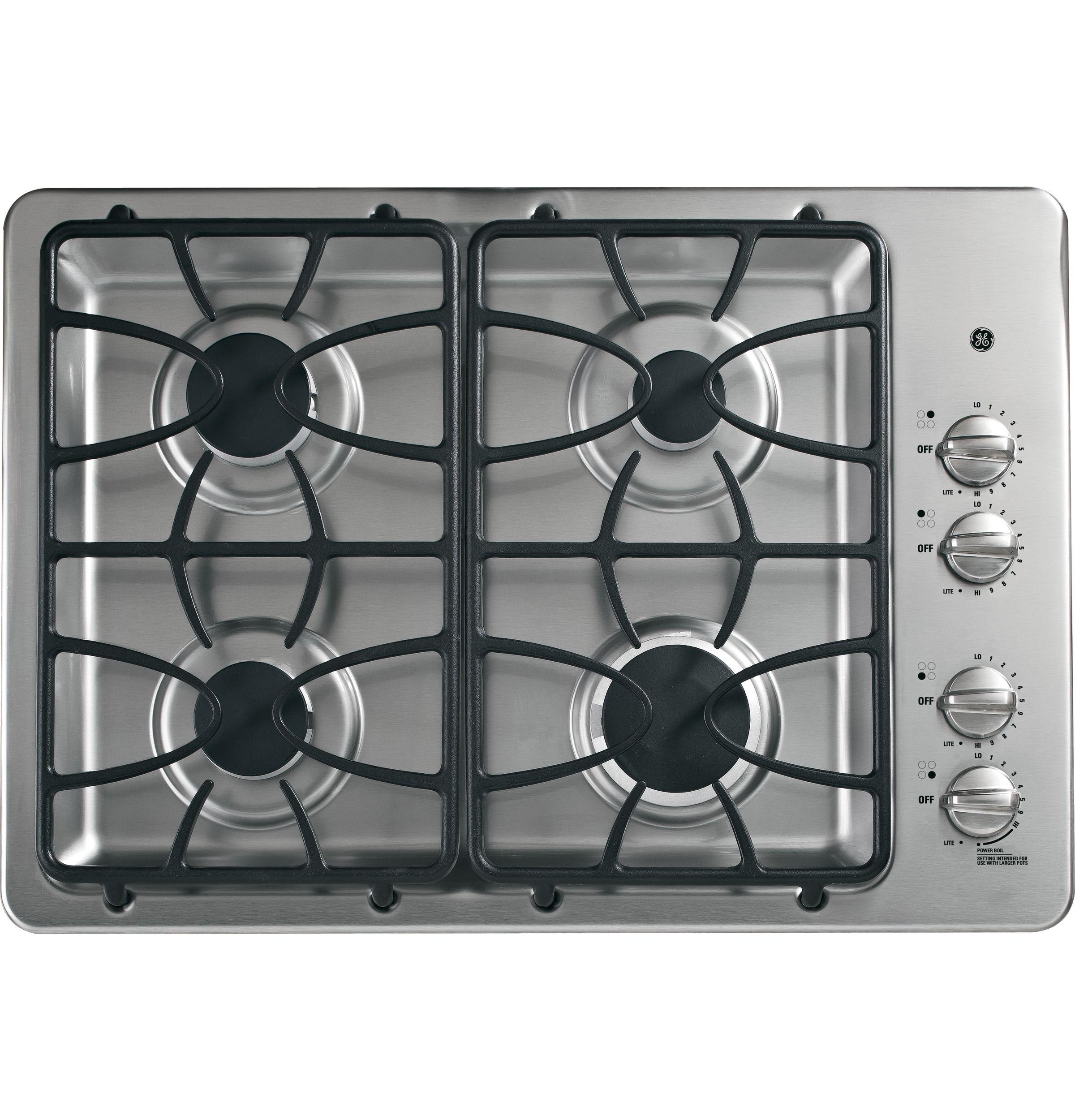 "JGP333SETSS GE® 30"" BuiltIn Gas Cooktop GE Appliances"