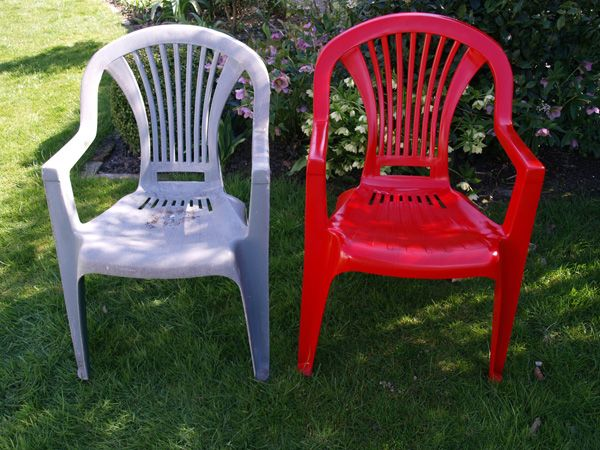 Painting Plastic Chairs plastic chair makeover - no need to buy new ones! we used
