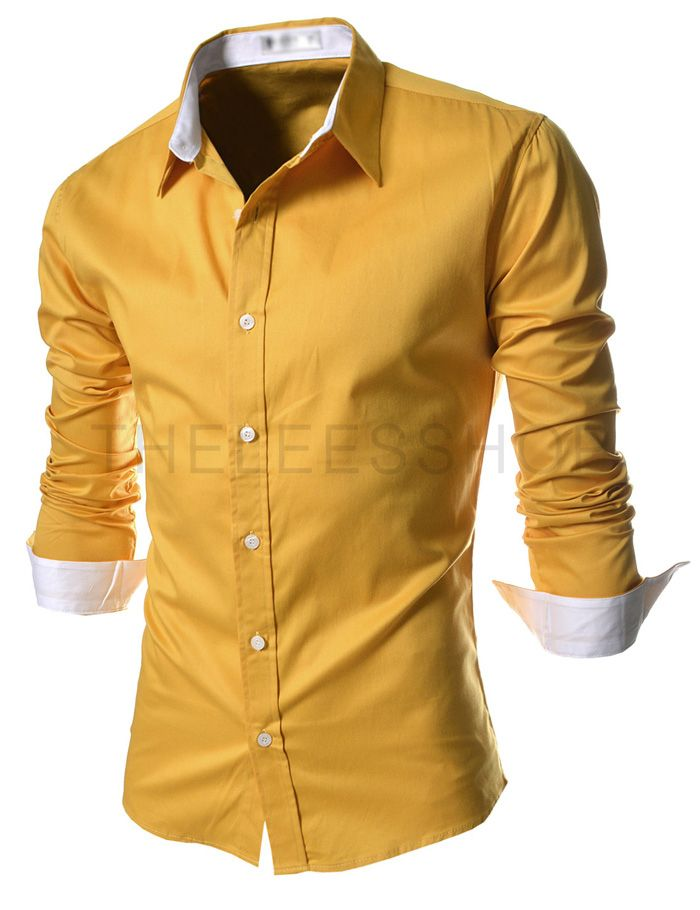 Mens slim fit yellow dress shirt
