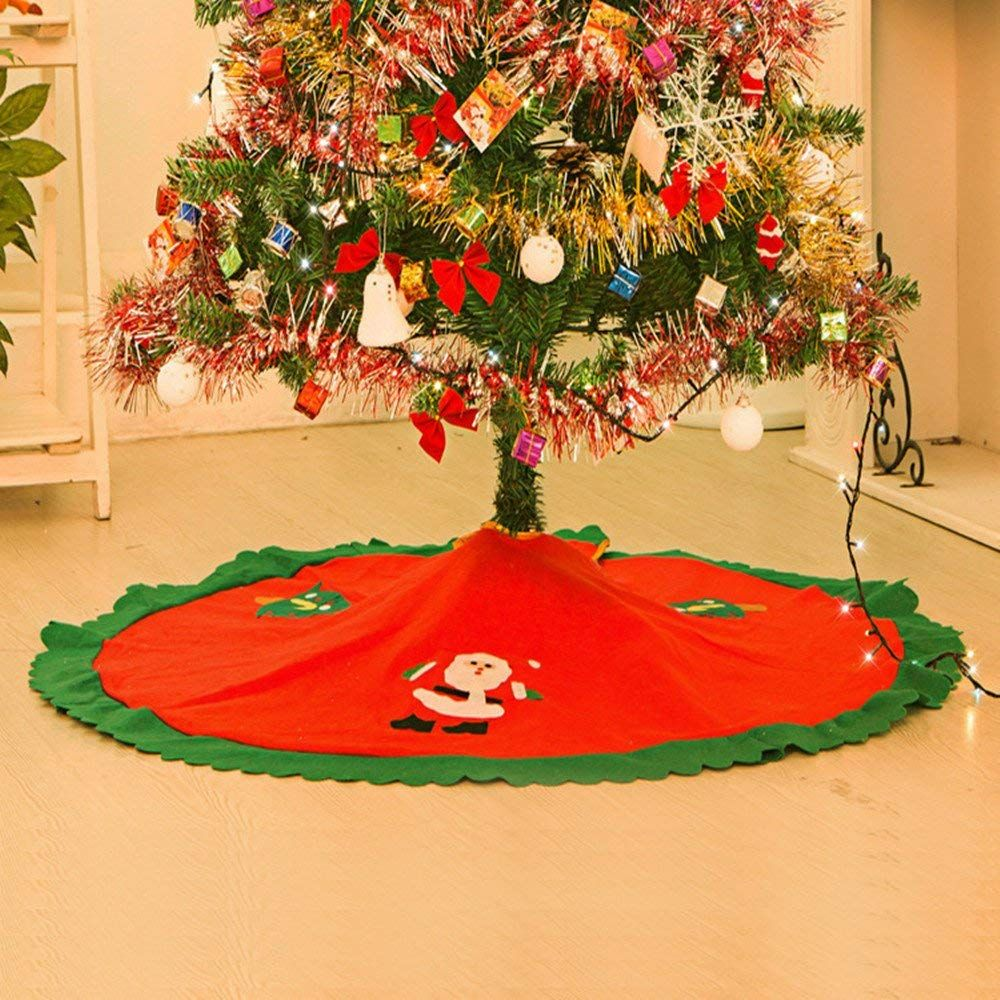 Christmas Tree Skirt 36 Inches Diameter Felt Fabric Gold Trim Red And Green Night Befor Red Christmas Tree Red Christmas Tree Skirt Christmas Tree Skirt