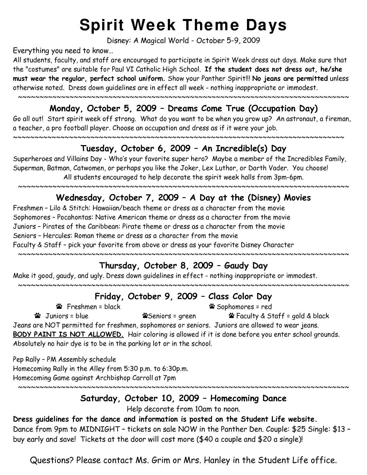 Spirit Week Theme Days | School spirit week, Spirit week themes, Catholic schools week