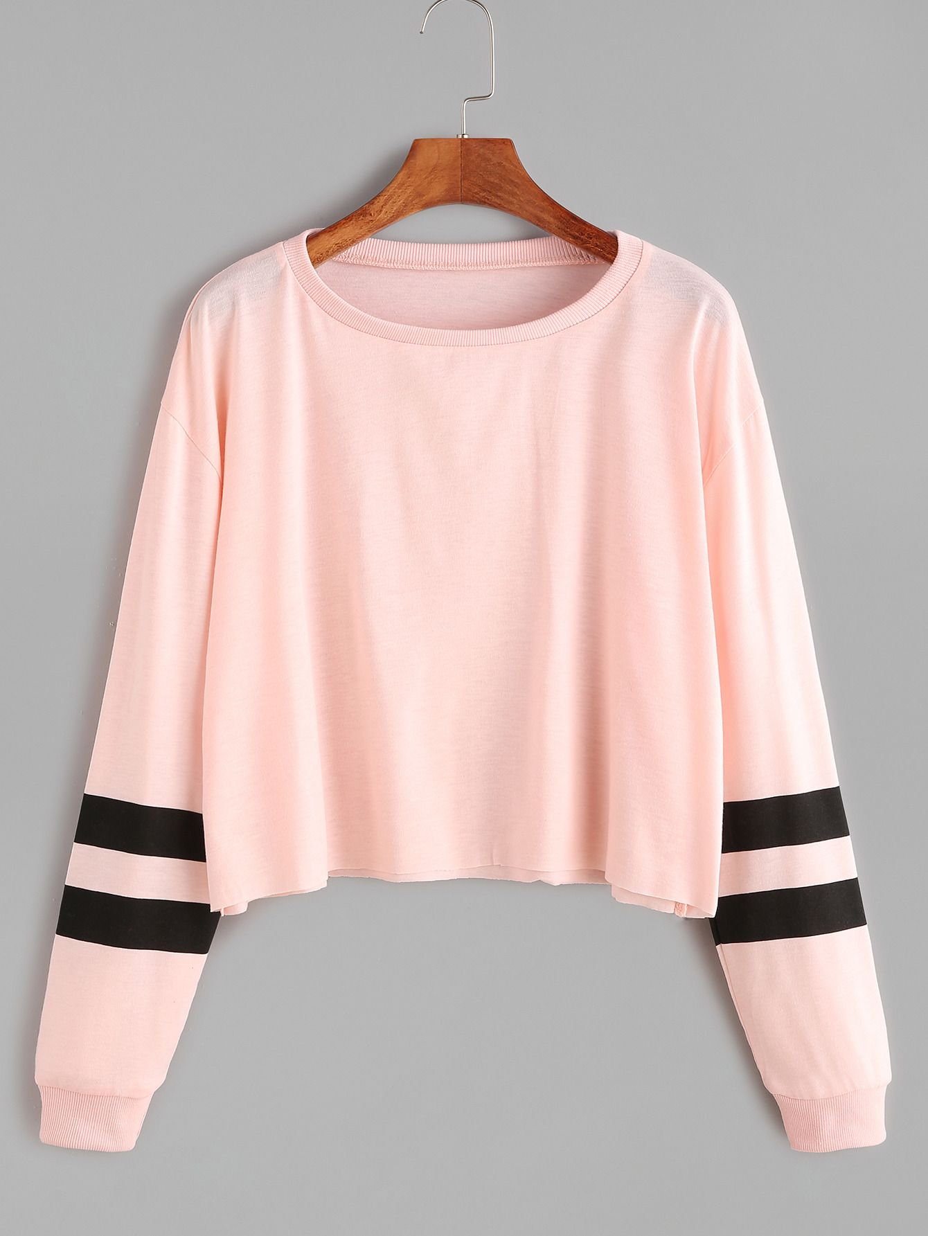 a31bb7cd848557 Shop Varsity Striped Sleeve Crop Tee online. SheIn offers Varsity Striped  Sleeve Crop Tee   more to fit your fashionable needs.