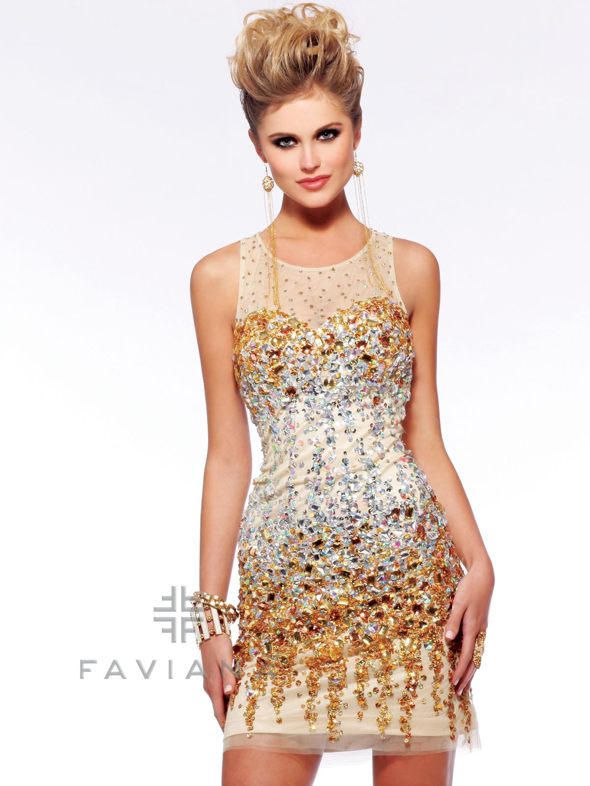 Every single angle and detail of this breathtaking cocktail dress are meant to steal all the compliments. Slip into this sexy party minidress by Faviana S7158 featuring sheer illusion high neckline with a hint of spark. The sheath silhouette made out of Stretch Mesh is decked out in Golden stones and stunning beadwork. The skirt ends at the upper thigh length.