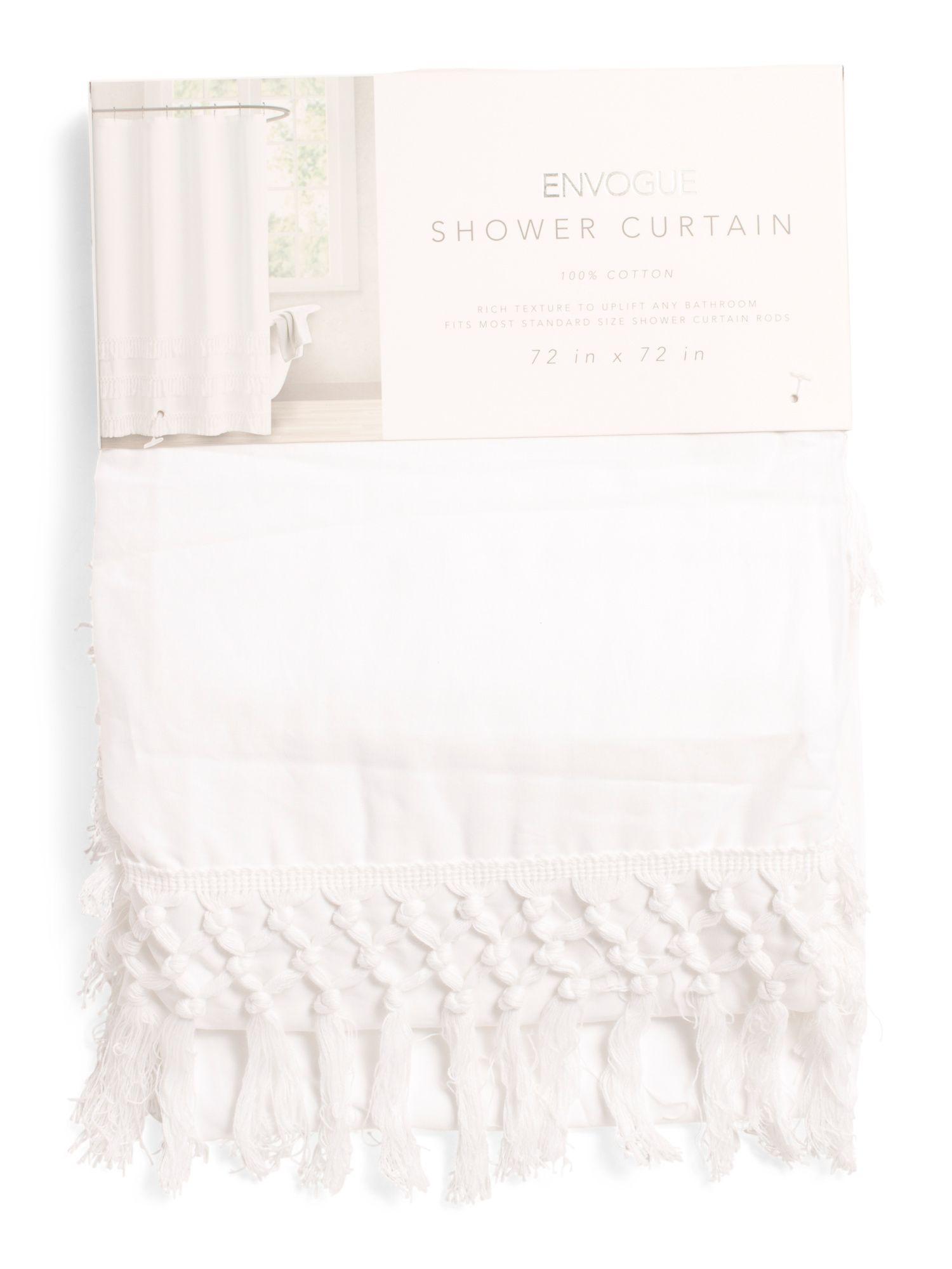 Washed Shower Curtain With Tassels Bath T J Maxx Tassel