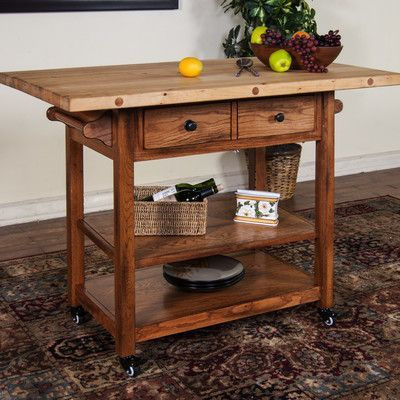 Sunny Designs Kitchen Island With Butcher Block Top Base Finish Rustic Oak Products Pinterest Blocks And Kitchens