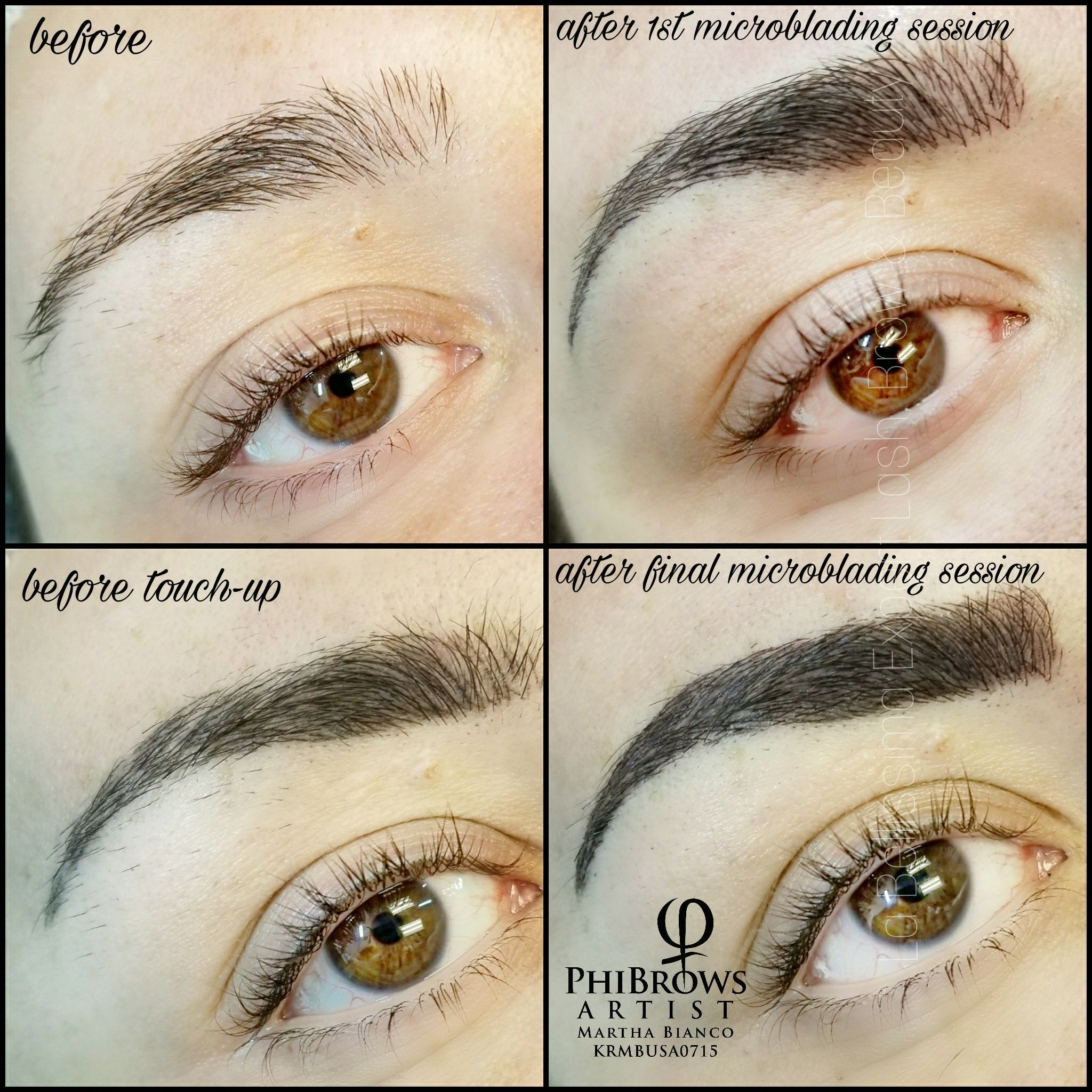 Before & After Final Microblading. Notice the 2Step